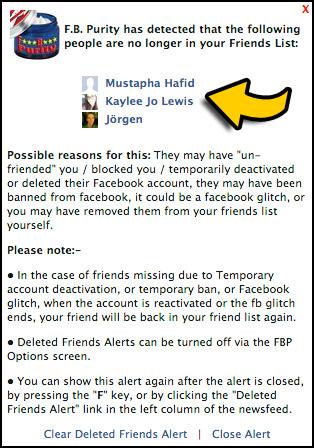 Deleted Facebook Friends