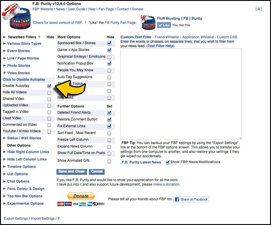 Disable Autoplay Facebook Videos